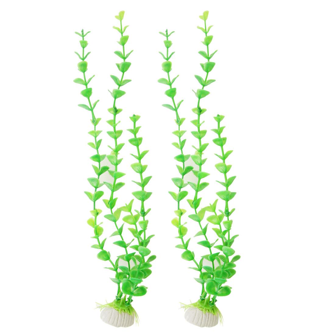 2 Pcs Aquarium Artificial Green Plastic Plant Ornament w Ceramic Base