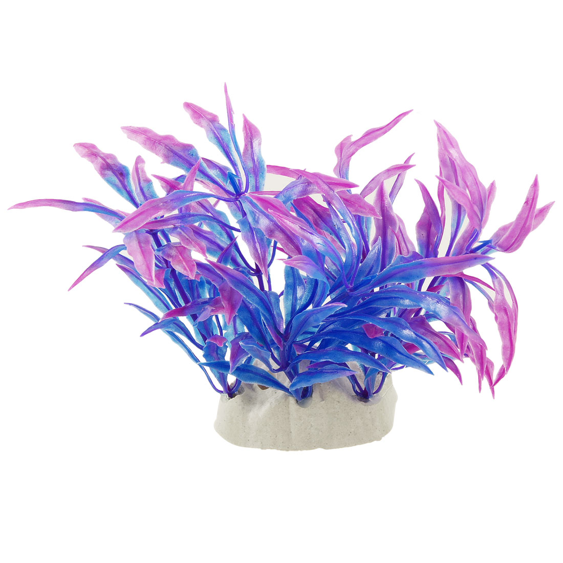 "Purple Blue Narrow Leaves 4.3"" High Plastic Plant Decoration for Aquarium"