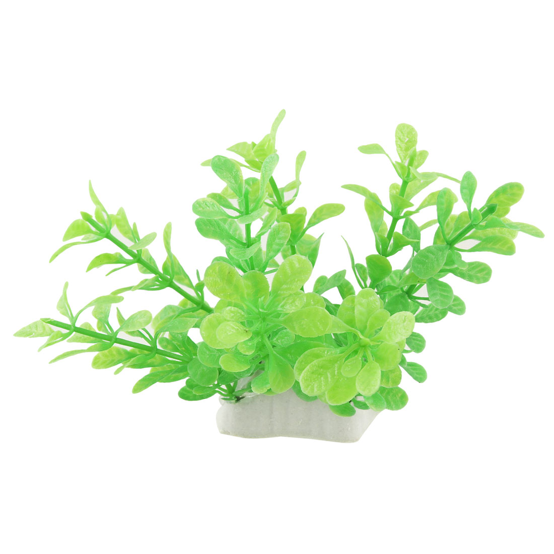 "Fish Tank Artificial Green Plastic Plant Ornament 3.7"" w Perforated Base"