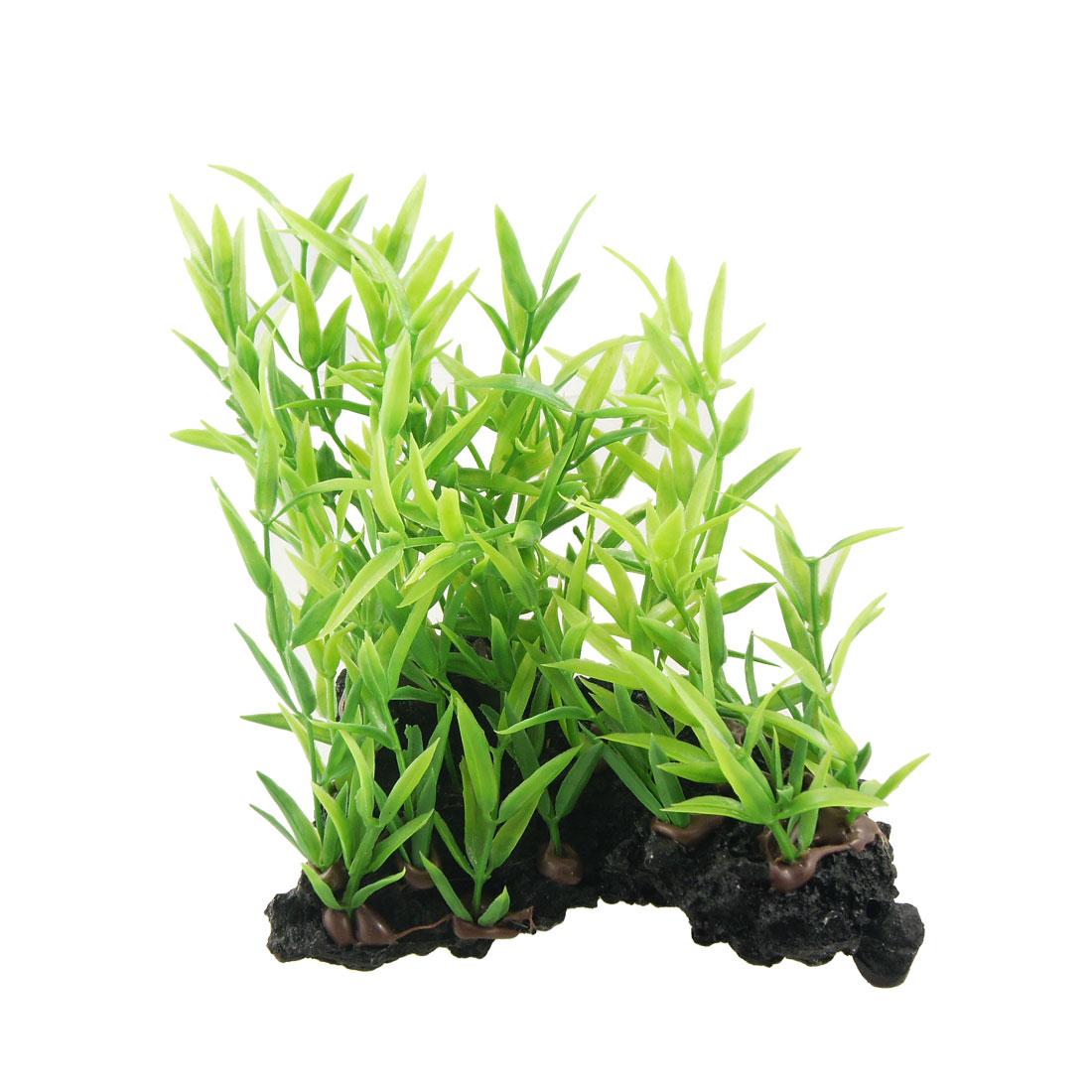 "Green Narrow Leaves 6.7"" High Plastic Plant Decoration for Aquarium"