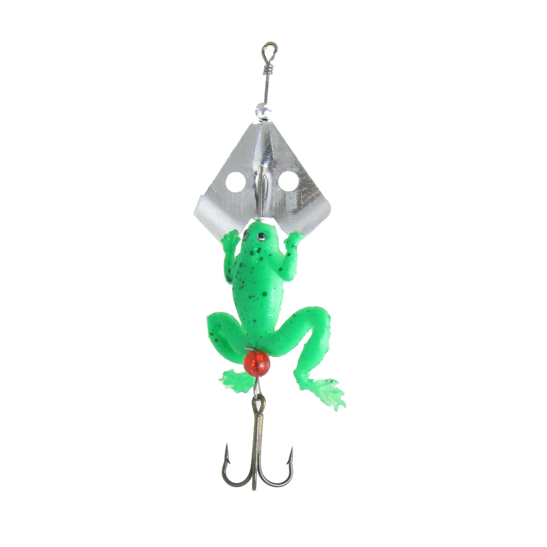 White Green Soft Plastic Frog Triple Fishhooks Fishing Lure Bait 3.9""
