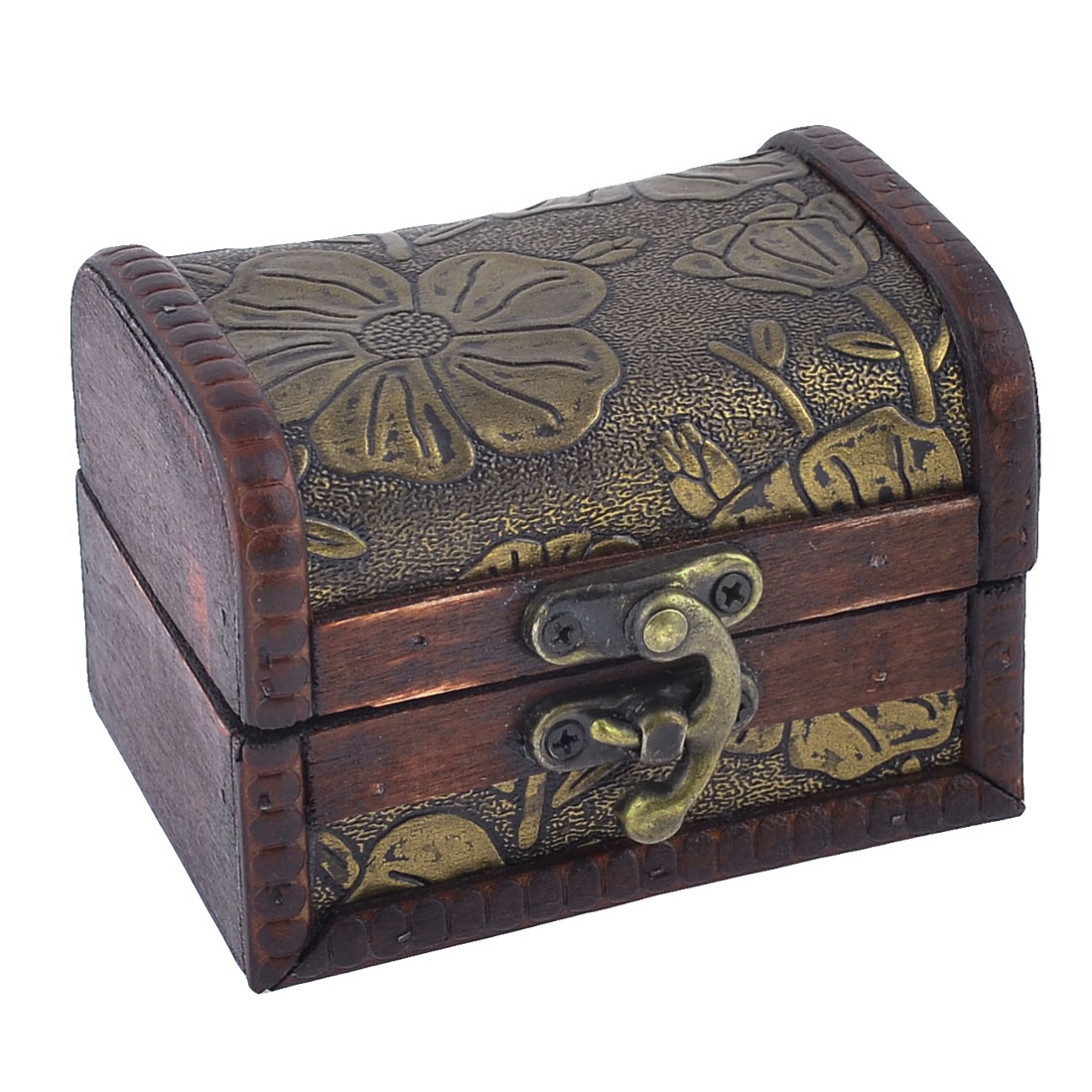 Wooden Vintage Style Embossed Flower Jewelry Gift Necklace Storage Case Box