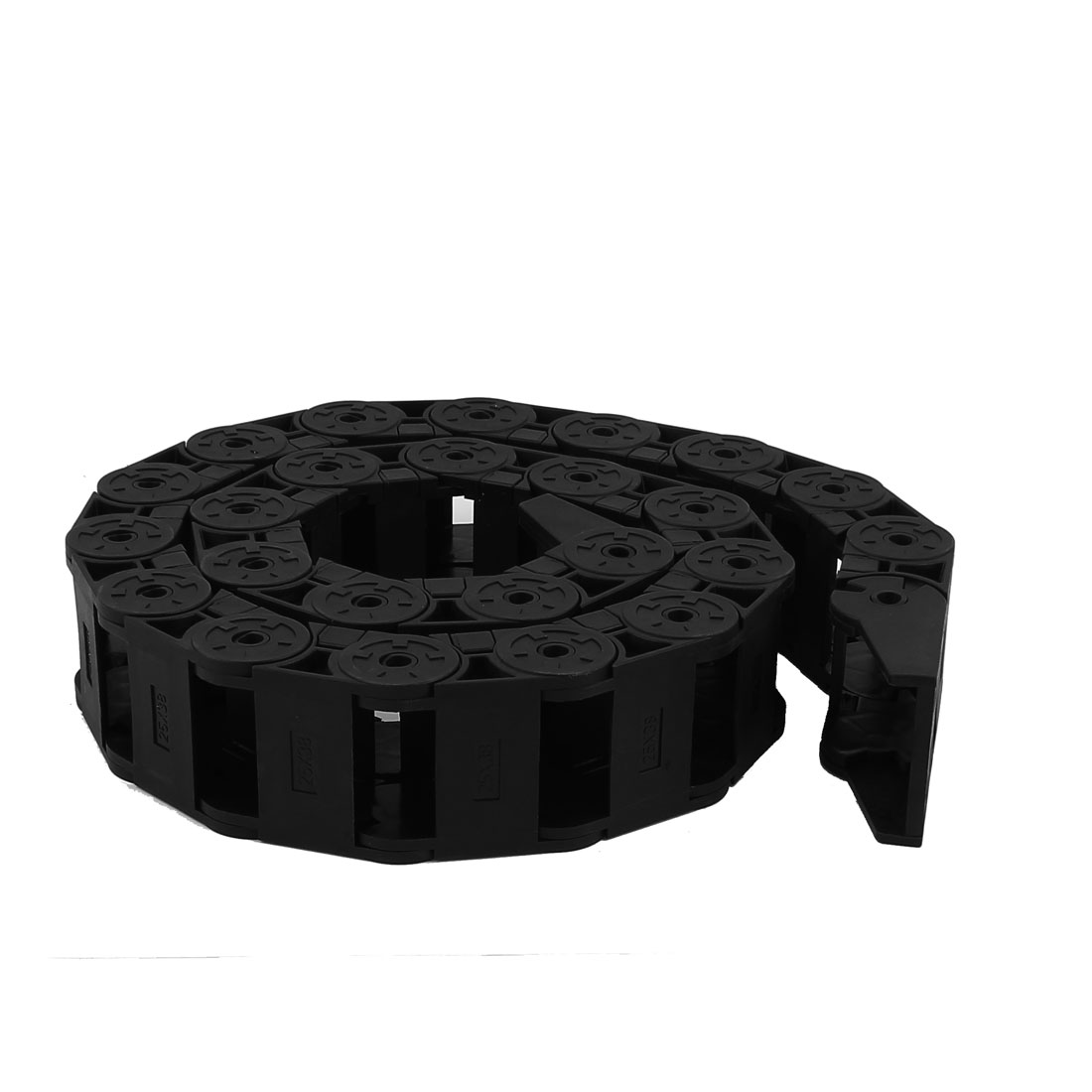 Black Semi Closed Plastic Drag Chain Wire Carrier 25mm x 38mm