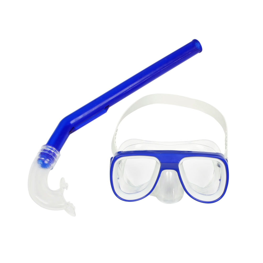 Dark Blue Frame White Head Strap Swimming Goggles Mask Snorkel Set
