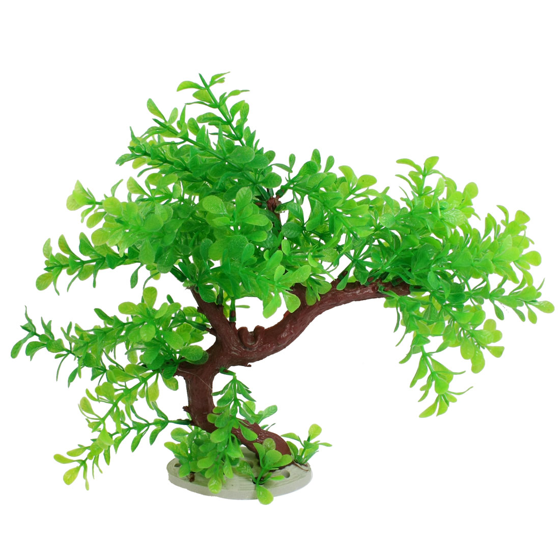 "Green Burgundy Artificial Plastic Tree Plant Decor 10.2"" for Aquarium Tank"