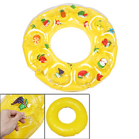 Fruits Leaf Flower Print Inflatable Yellow Swimming Ring for Children