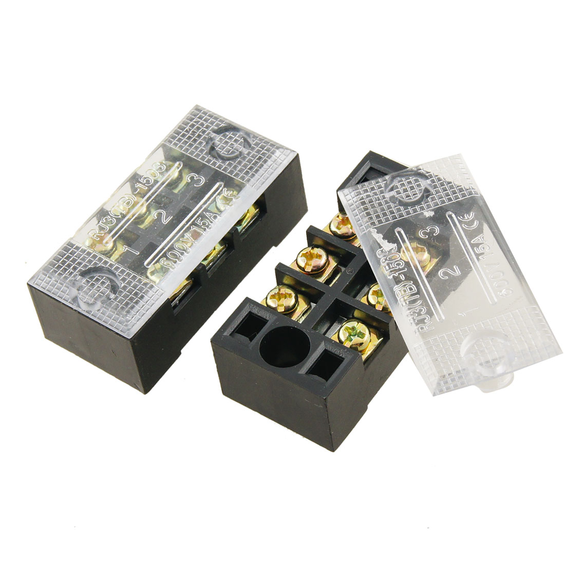 2 Pcs 15A Plastic Housing 3 Position Wire Connector Barrier Terminal Block