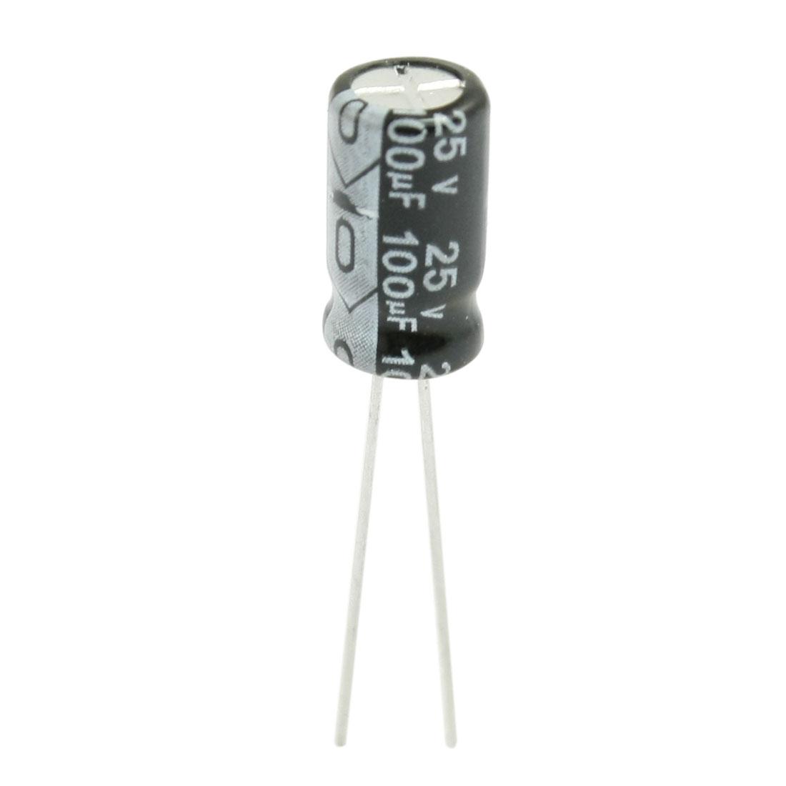 100 Pcs 100uF 25V 105C Radial Aluminum Electrolytic Capacitor
