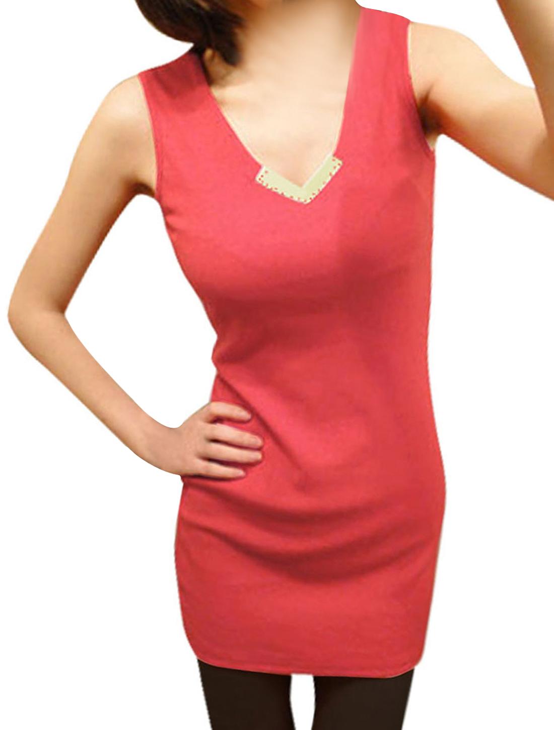 Lady Watermelon Red Sleeveless Metal Plate Decor Detail Slim Tunic Shirt XS