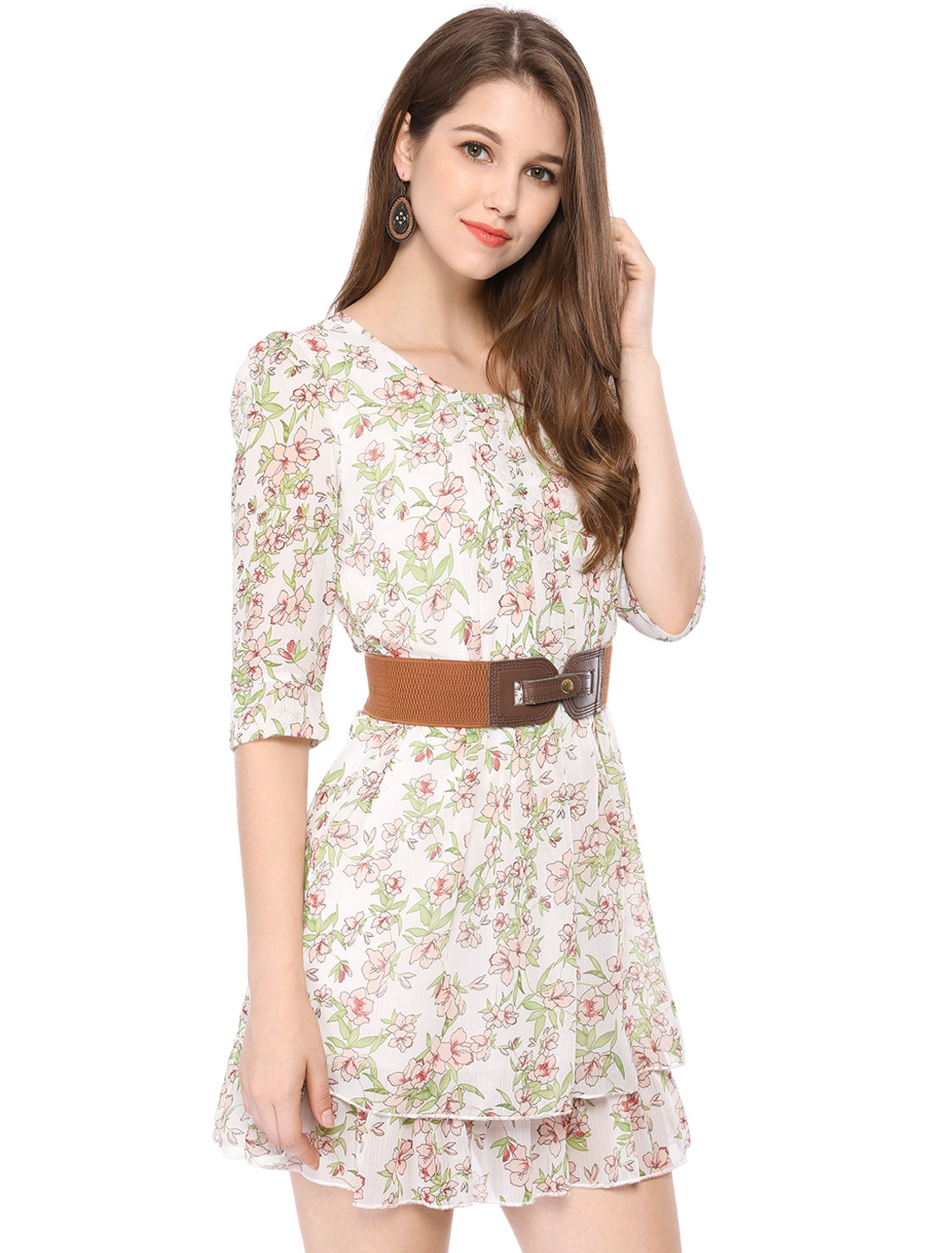 Woman Floral Prints Chiffon Green Red Above Knee Dress XS w a Waist Belt