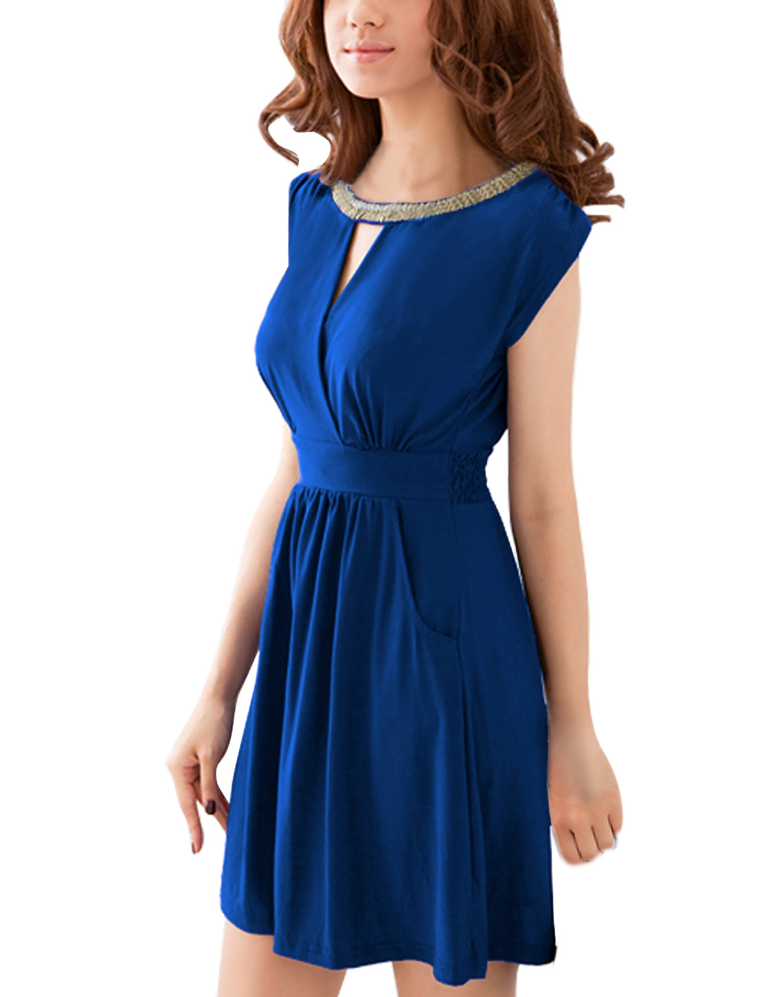 Woman Studs Decor Neck Crossover Front Blue Dress S