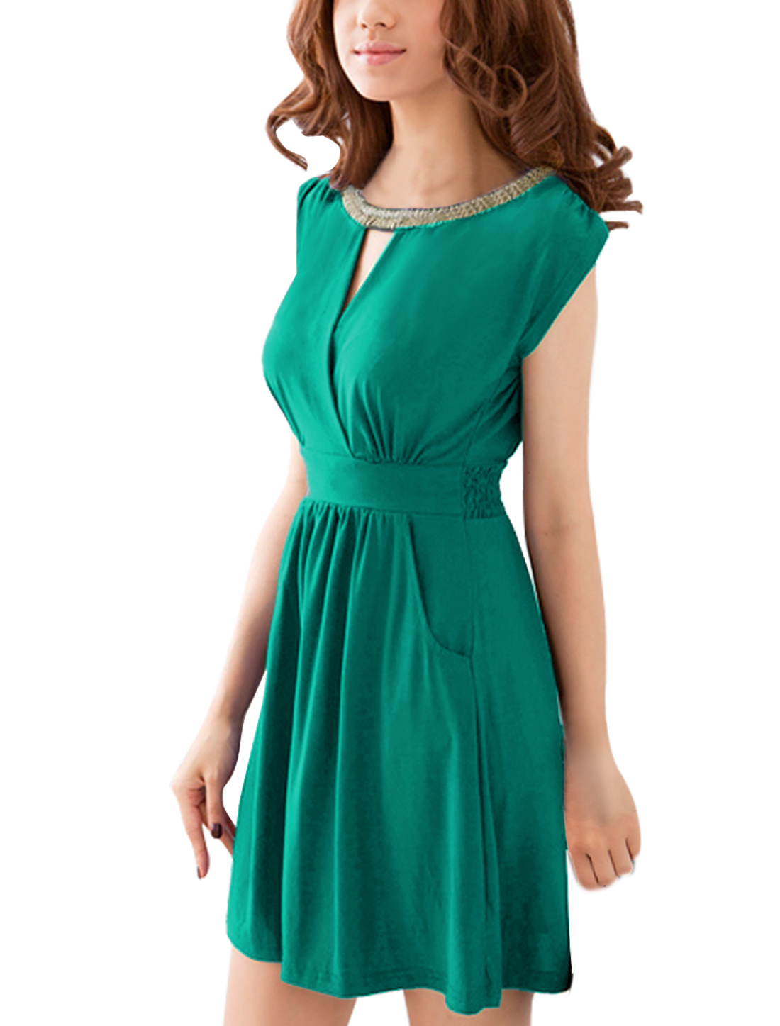 Ladies Studs Decor Neck Two Pockets Teal Green Dress S