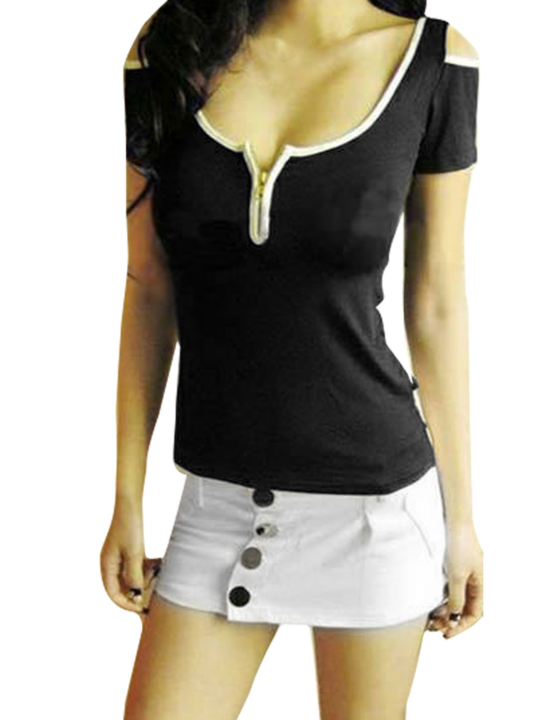 Woman Zipper Convertible Collar Cut Out Sleeve Black Shirt XS