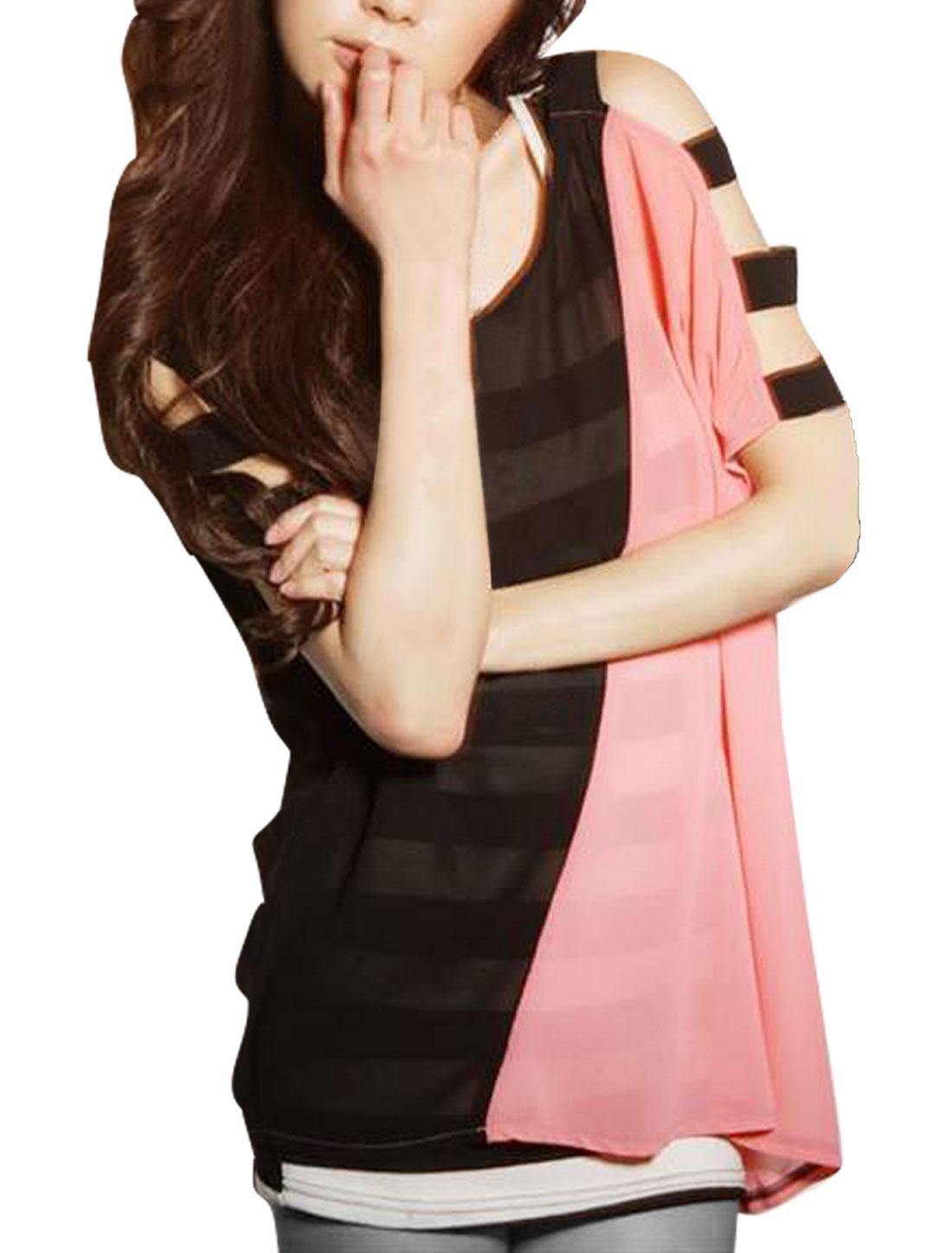Woman Black Pink Semi Sheer Chiffon Shirt w Striped Tunic Tank Top XS