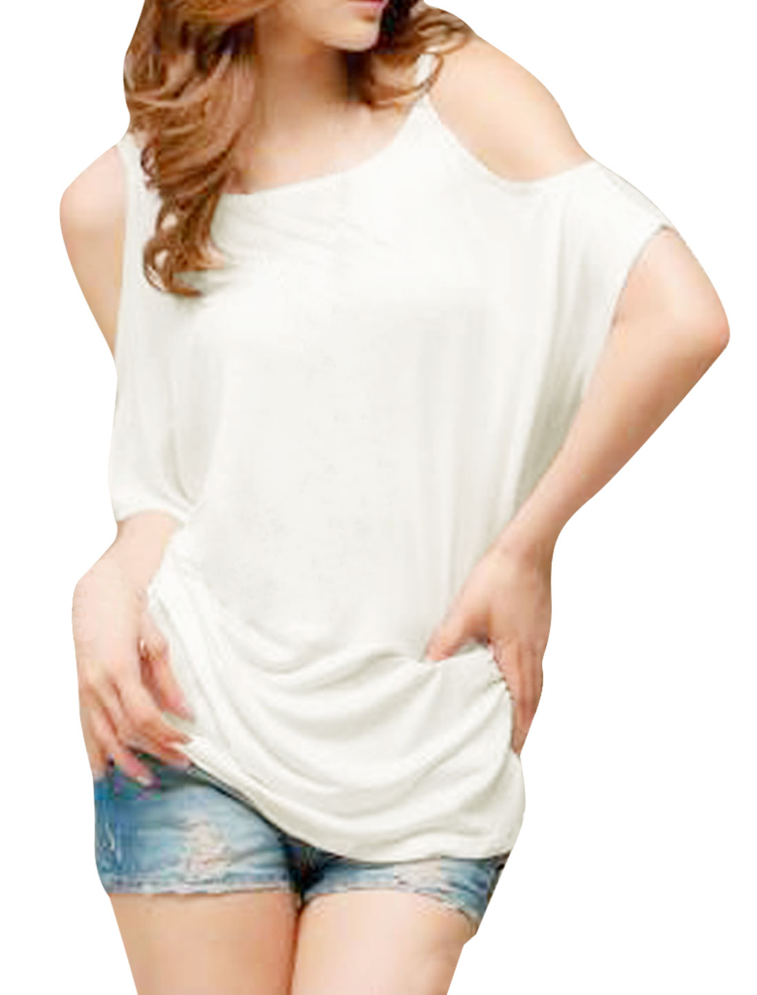 Ladies Summer Scoop Neck Cut out Shoulder White Shirt S