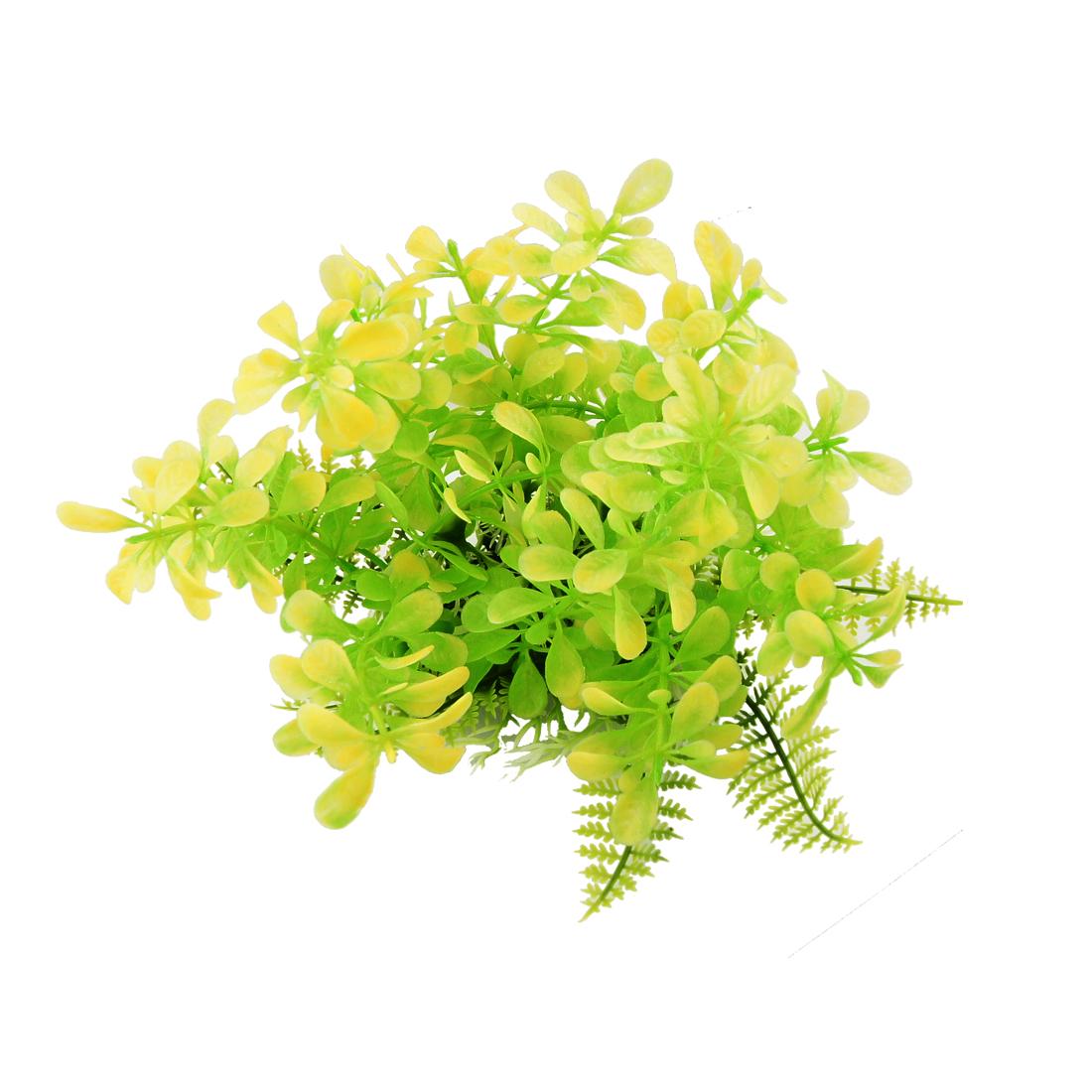 Green Yellow Plastic Lifelike Grass Aquarium Fish Tank Aquascaping Plant
