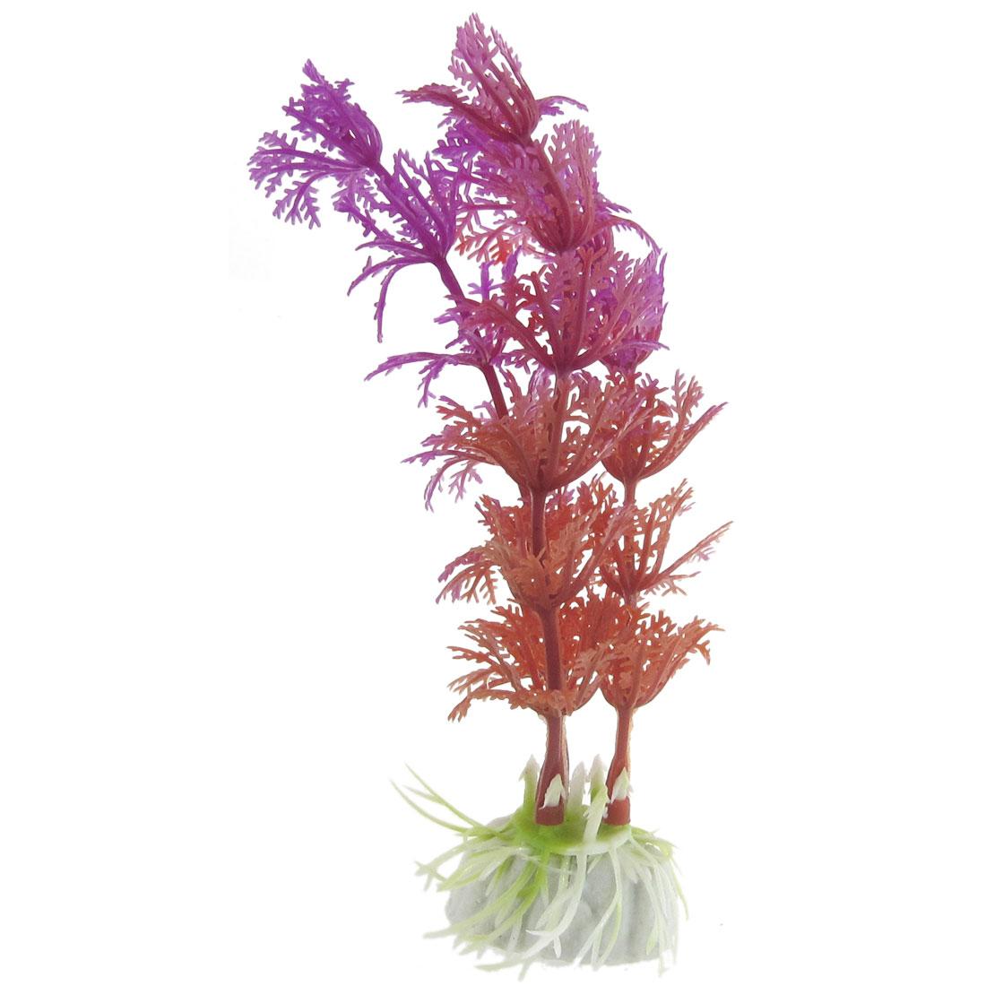10 Pcs Aquascaping 13cm Purple Red Plastic Plant Grass for Aquarium