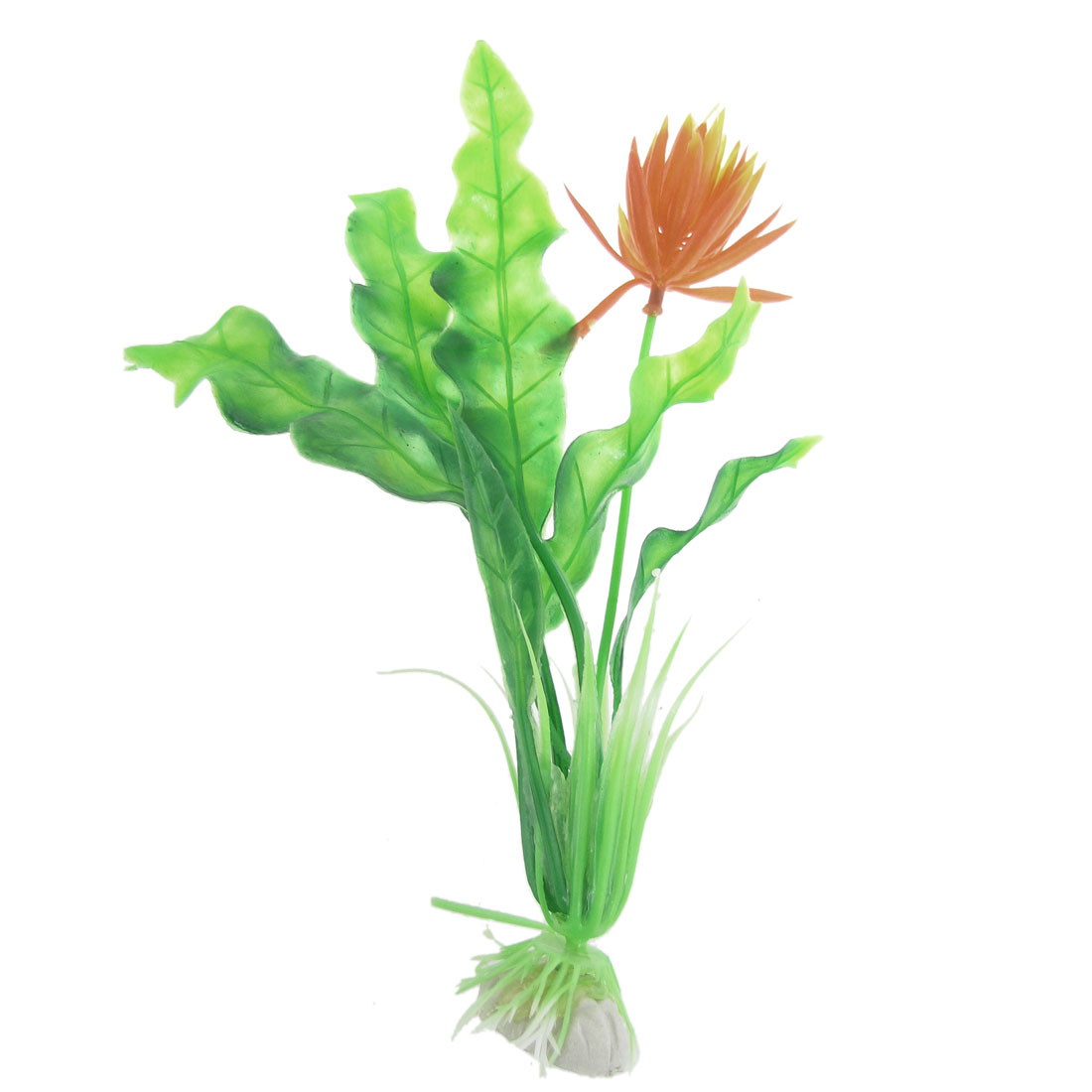 10 Pcs Green Orange Artificial Plastic Water Lotus for Aquarium 21cm