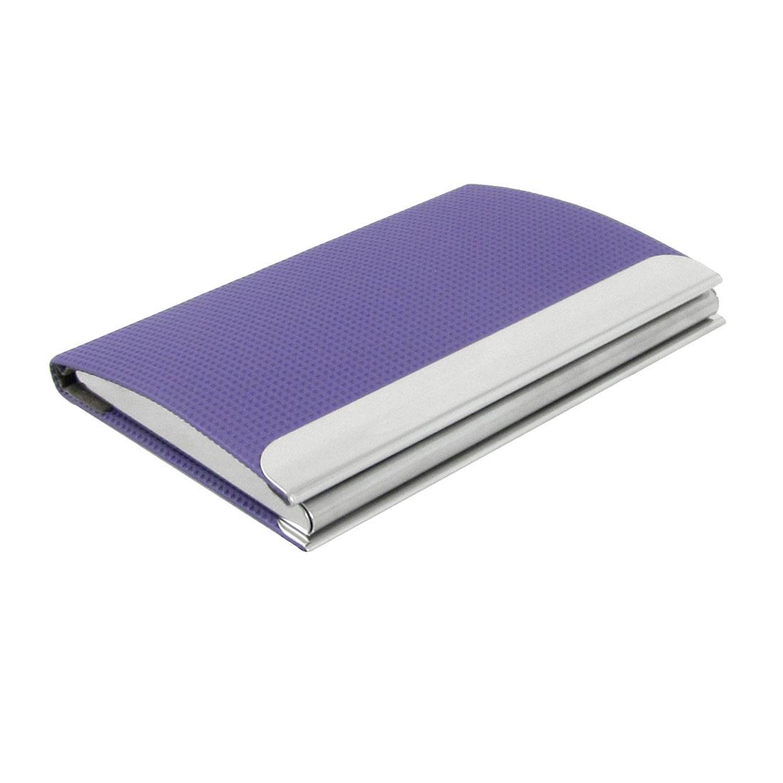 Purple Grid Pattern Metal Business Name Card Case Holder