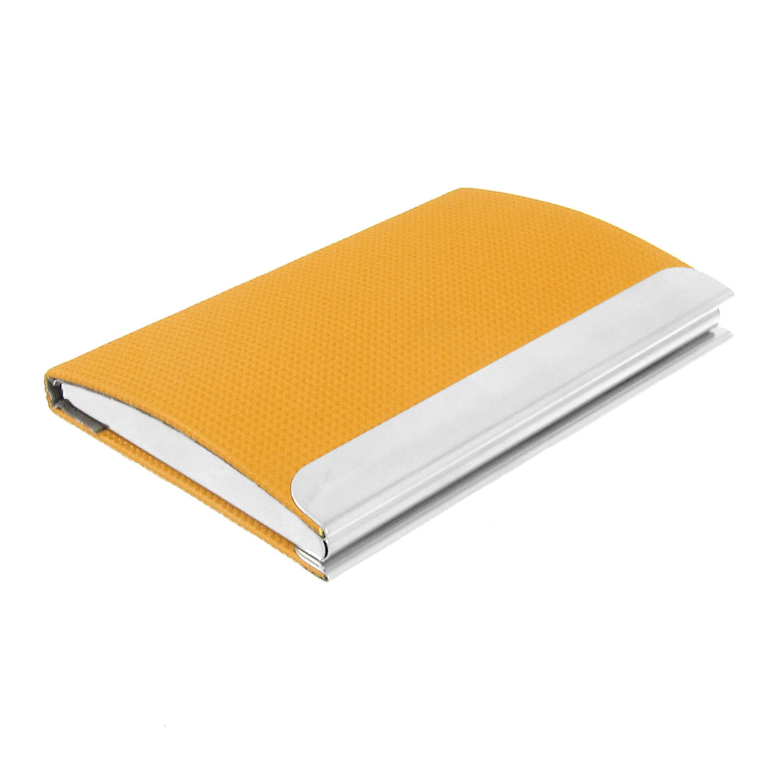 Orange Faux Leather Surface Magnetic Metal Business Name Card Case Holder