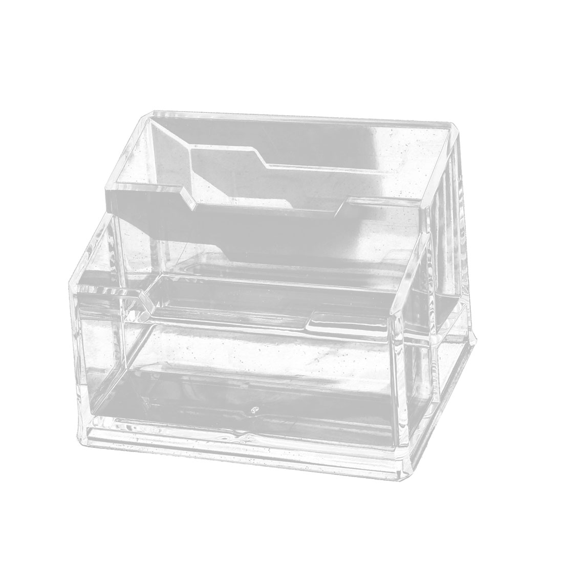Transparent 2 Compartments Business Name Card Organizer Stand Holder
