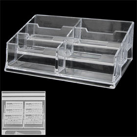 6-Compartment Design Clear Name Credit Card Display Stand Holder