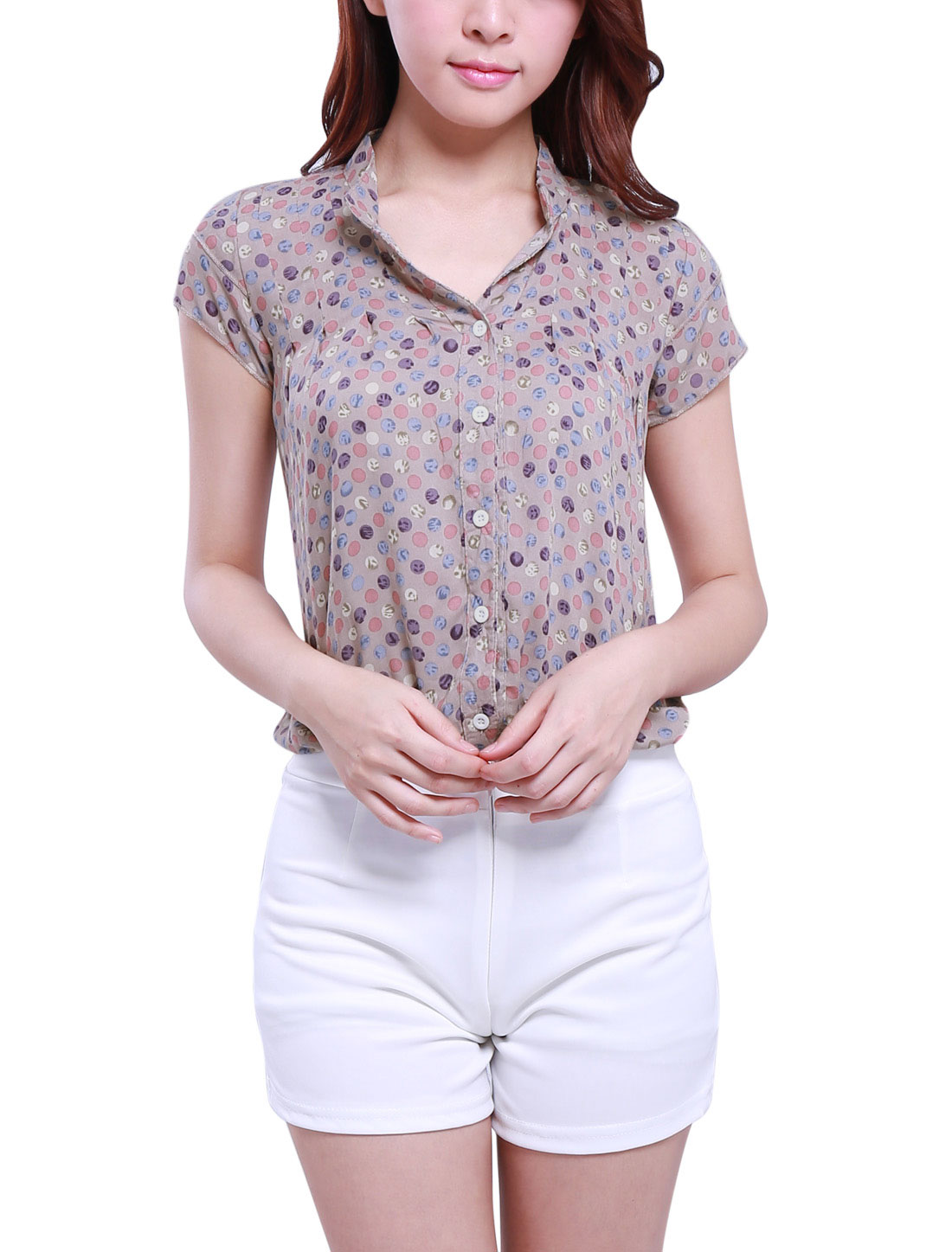 Woman Pastel Dotted Split Neck Short Sleeve Blouse Tops Pale pink M