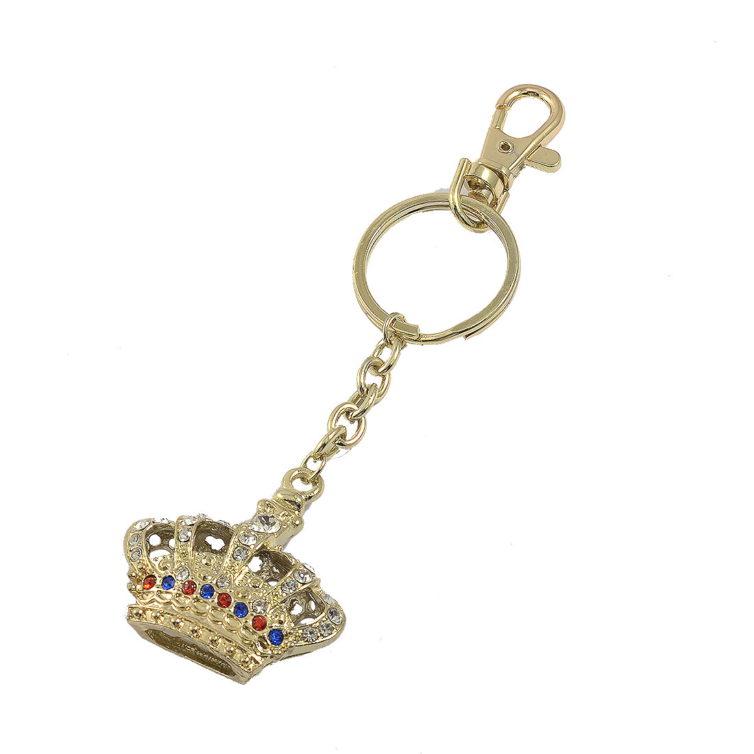 Faux Crystal Inlaid Crown Pendant Lobster Clasp Keyring Gold Tone