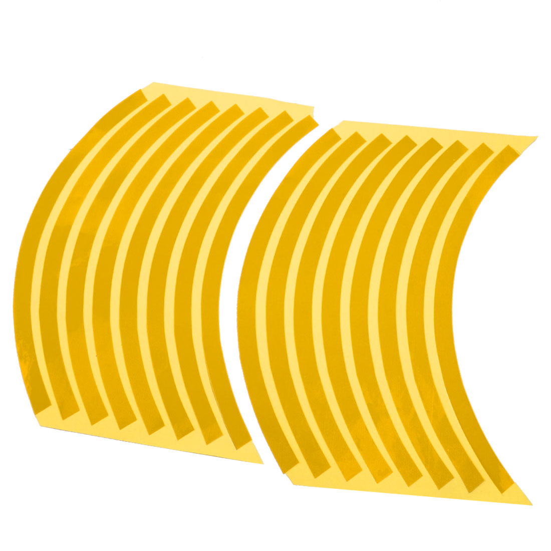 "7.7"" Length Motorcycle Wheel Rim Tape Stickers Stripes Yellow 16 Pcs"