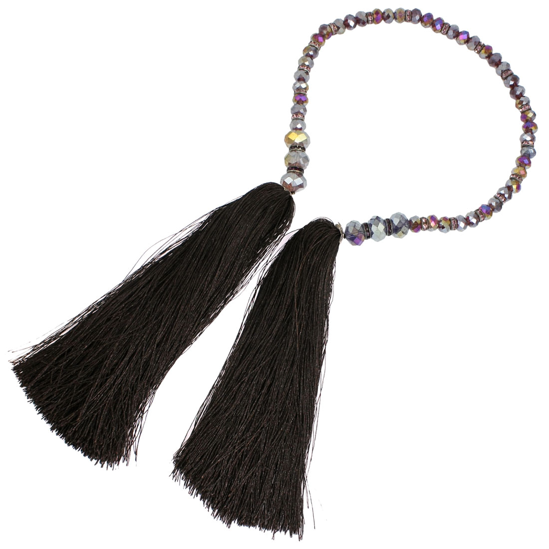 Faux Purple Faceted Crystal Coffee Color Dual Tassels Pendant Charm