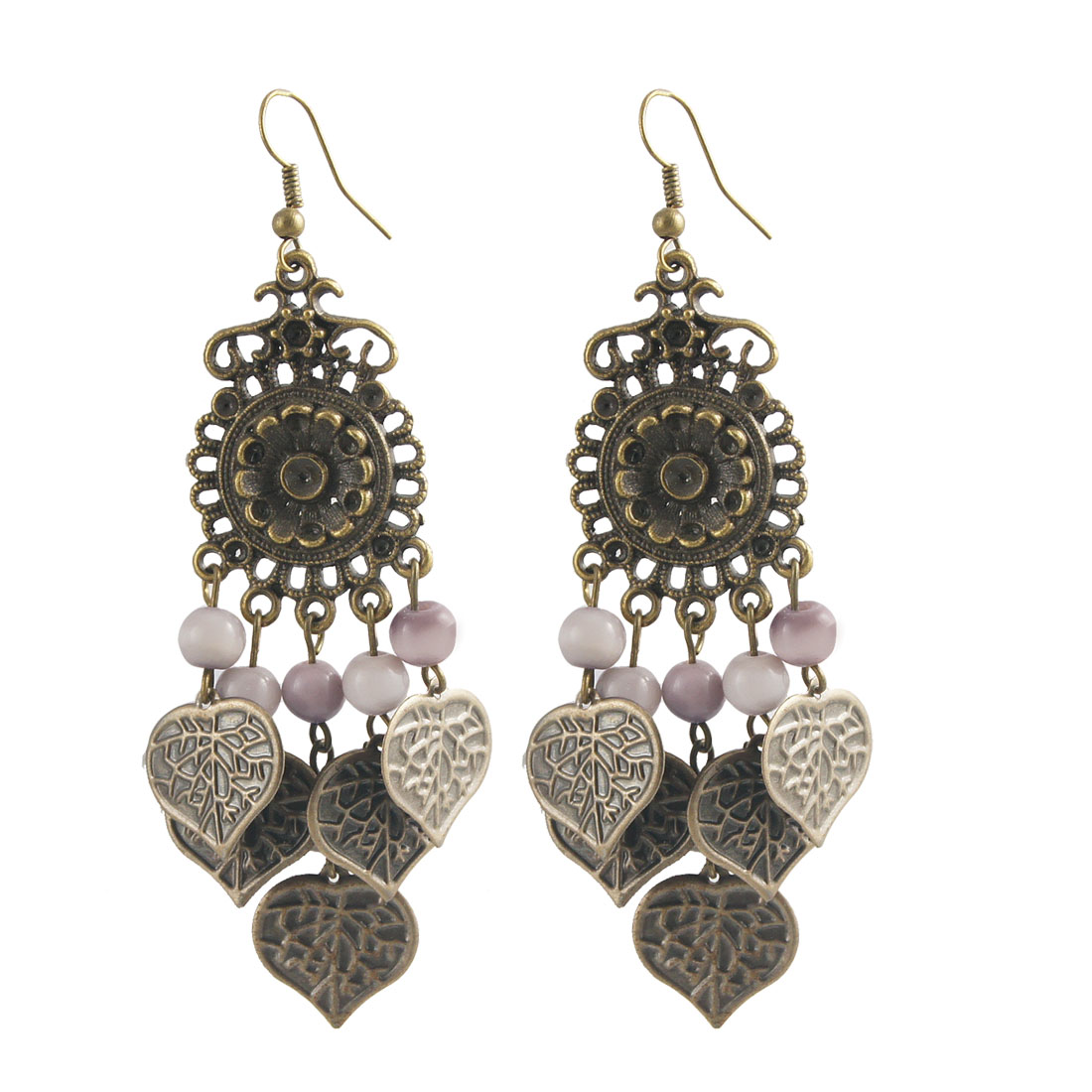 Pair Bronze Tone Thistle Plastic Beads Metal Heart Shape Leaves Pendant Earrings