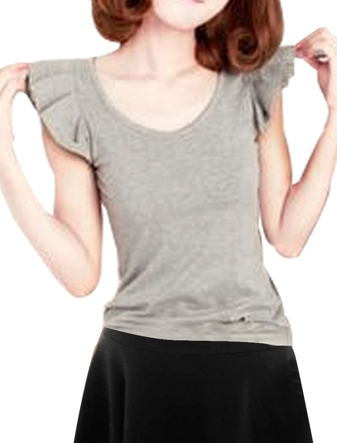 Women Medium Gray Scoop Neck Stretchy Formfitting Short Flouncing Sleeve Shirt XS