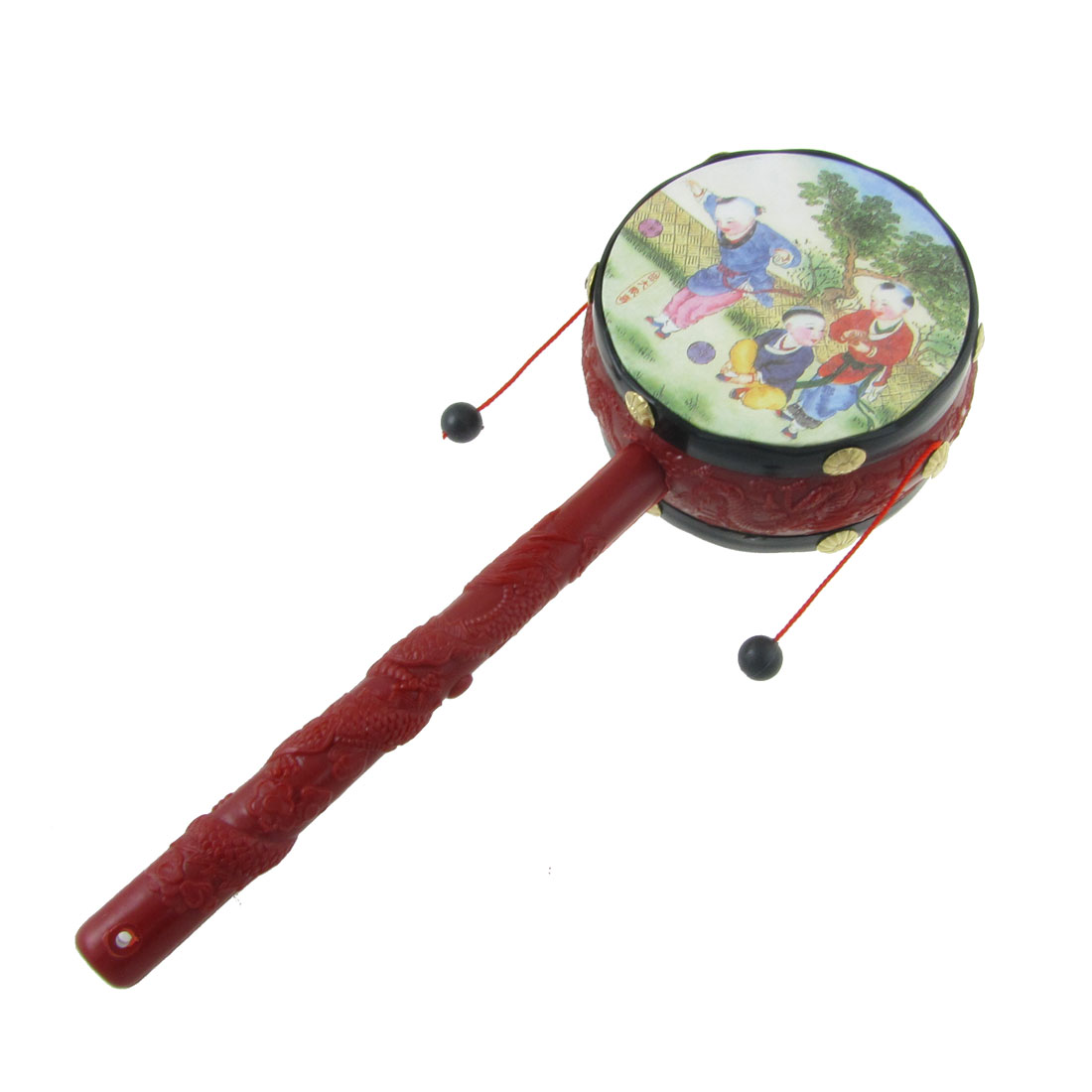 Plastic Hand Shake Music Instrument Toys Festival Rattle Drum Spin for Home Decor
