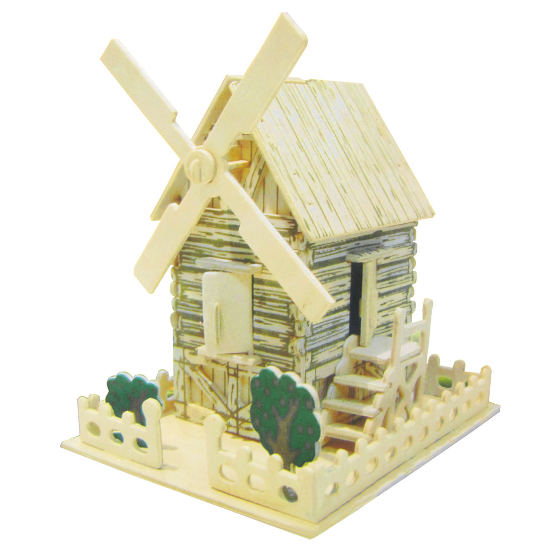 Children Puzzled 3D Wooden Country Windmill Model Woodcraft Construction Kit