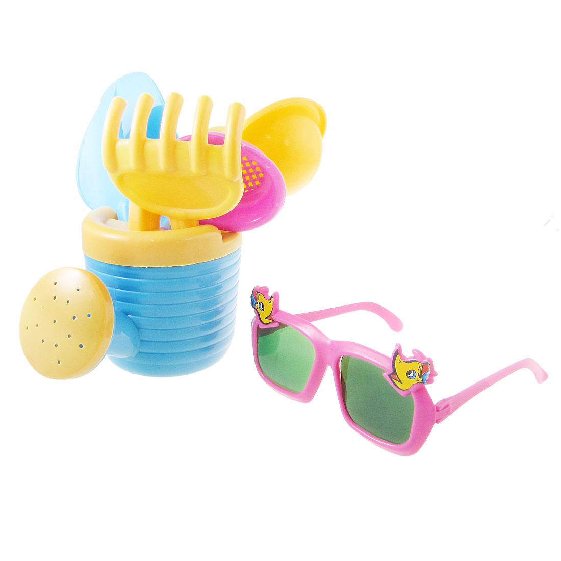 Children Plastic Yellow Sand Bucket Water Pot Rake Kit Beach Toy w Glasses