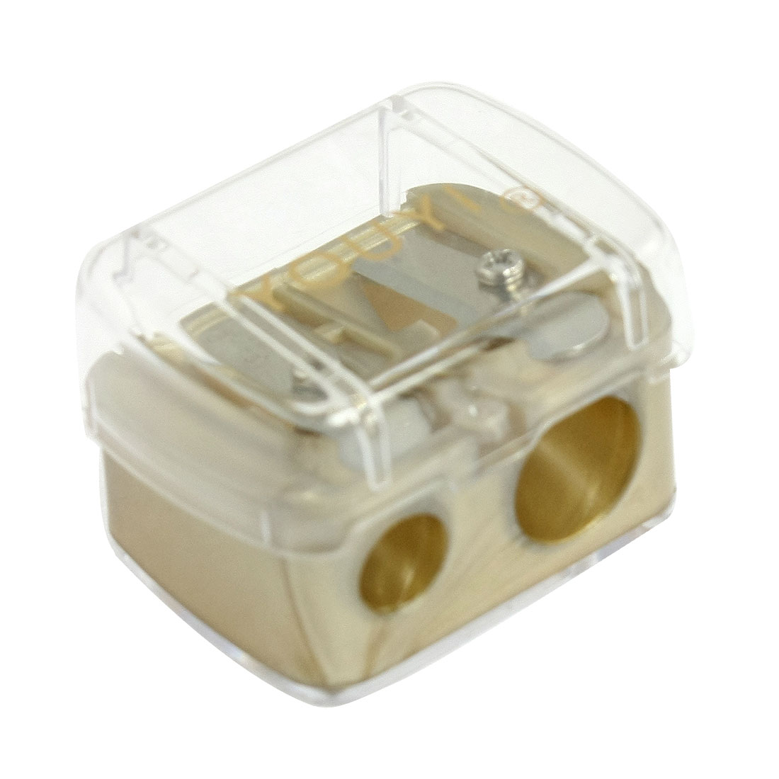 Clear Plastic Cover Brown Double Holes Eyebrow Pencil Sharpener Tool