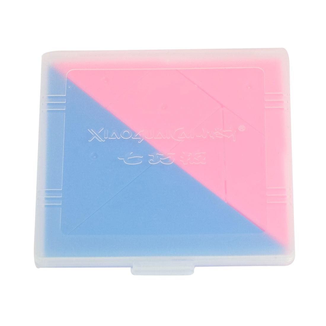 Brain Train Plastic 7 Parts Geometry Puzzle Toy Pink Blue