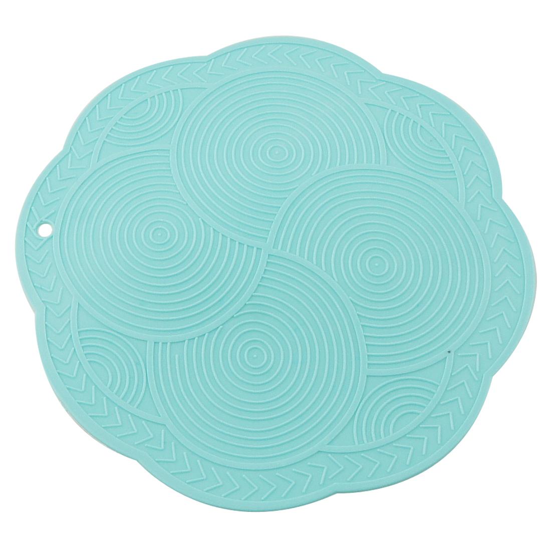 Blue Round Floral Shape Antislip Silicone Heat Resistant Mat 2 Pcs