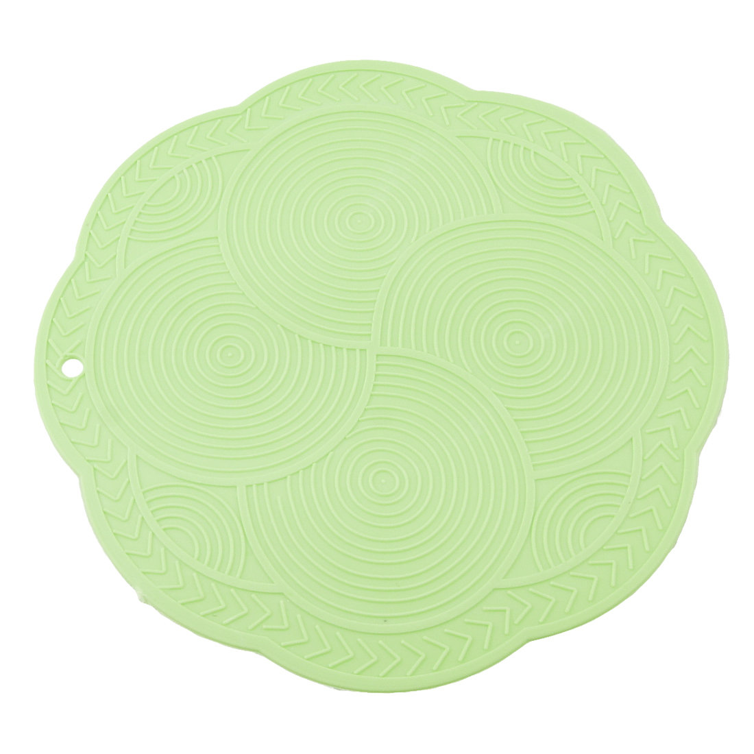 Flexible Round Nonslip Silicone Heat Resistant Mat Green 2 Pcs