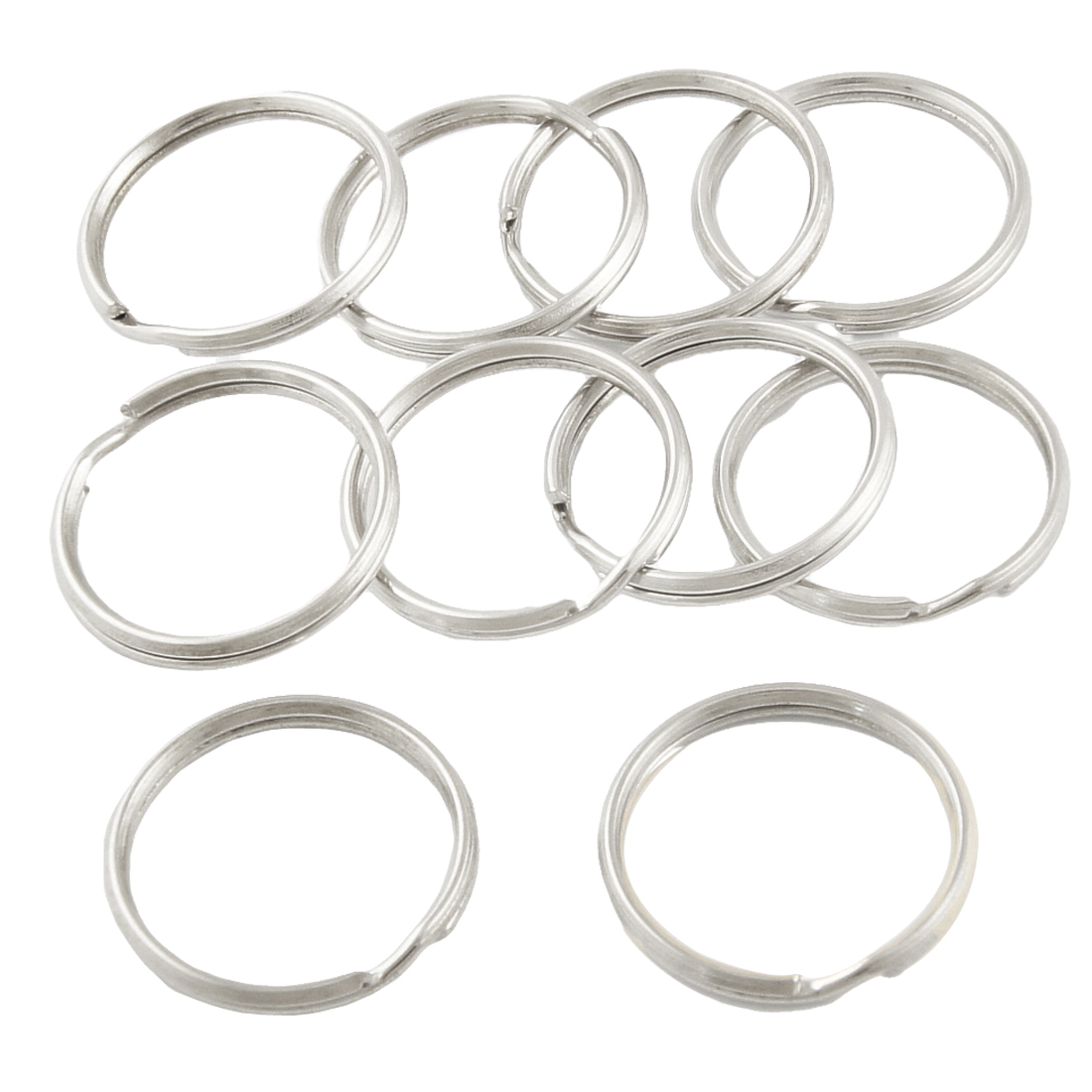 24mm Diameter Sliver Tone Double Loop Split Ring Key Ring x 10