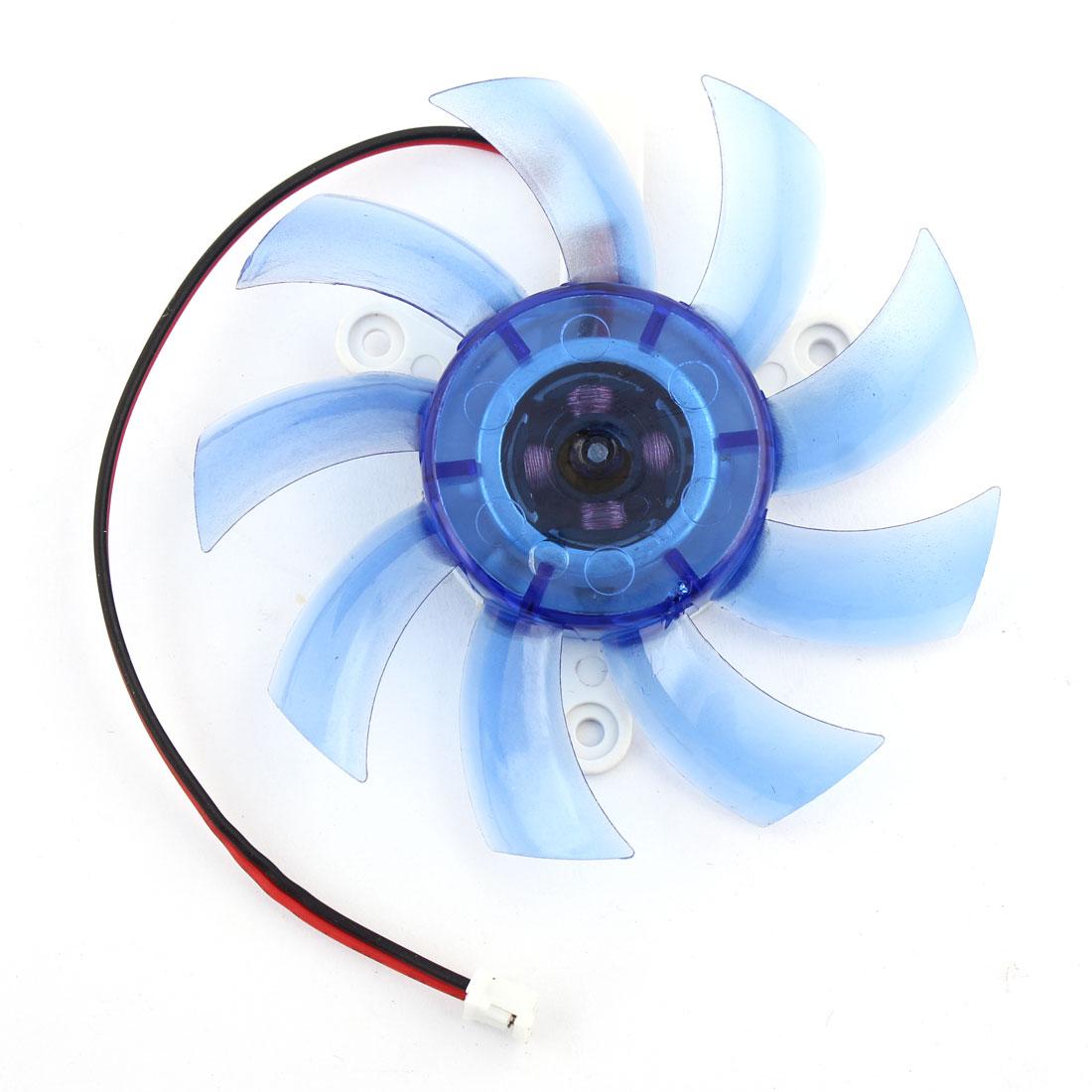 DC 12V Computer 2 Terminals Connector VGA Cooler Cooling Fan Blue