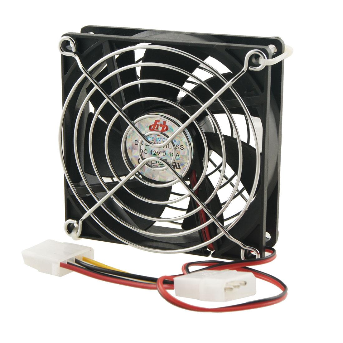 90mm x 90mm x 25mm 4 Pins Cooling Fan w Metal Finger Guards