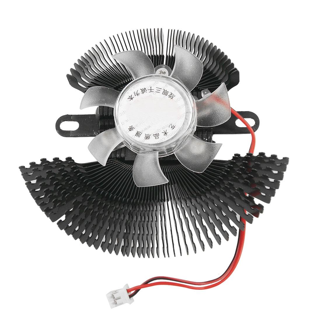 Black Heatsink Clear DC 12V 2 Terminals Computer VGA Cooler Cooling Fan