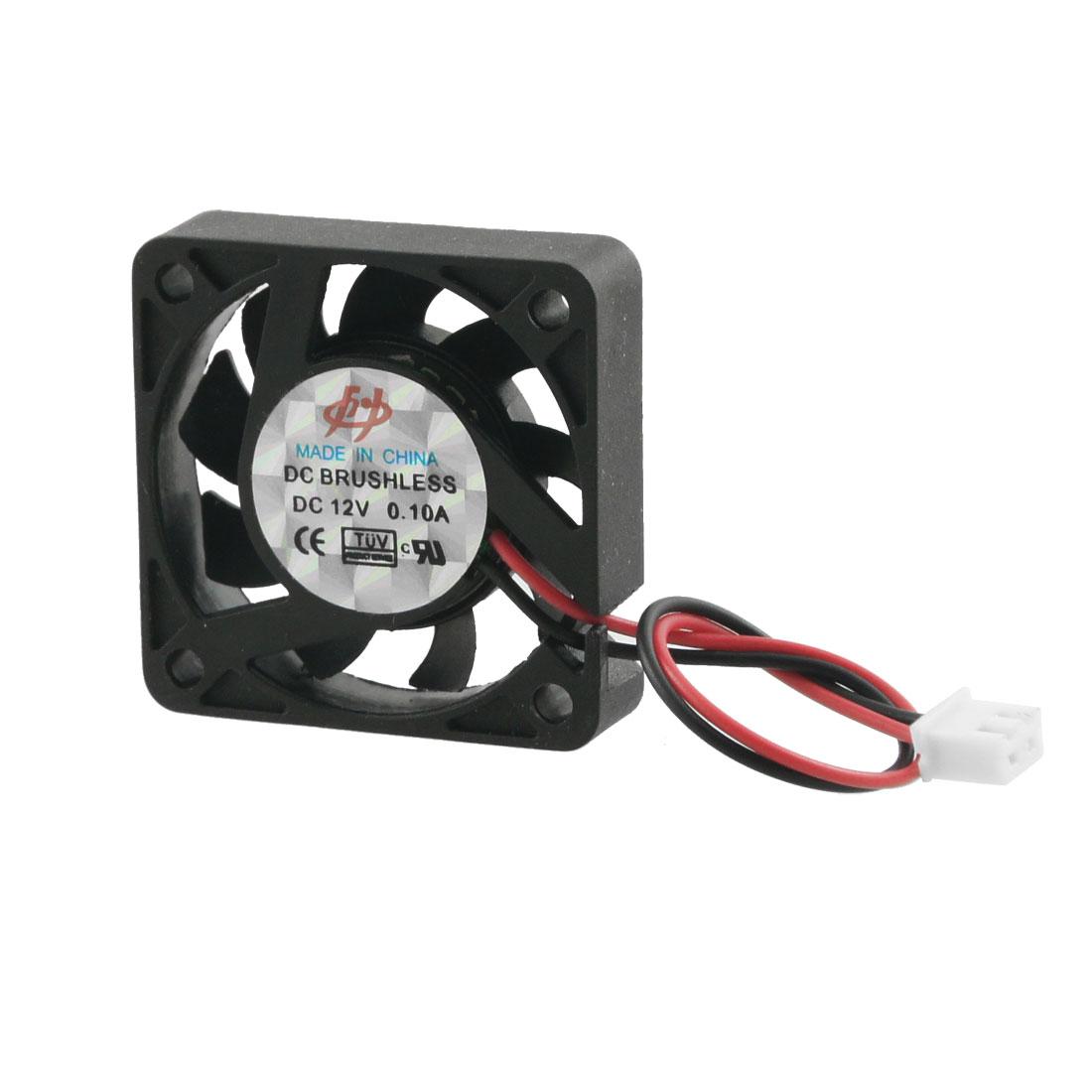 PC Computer DC 12V 0.1A 2 Terminals Connector Black Plastic Cooling Fan