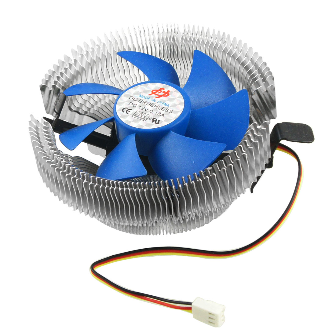 PC Silver Tone Blue Round Heatsink 3 Poles Connector CPU Cooler Fan