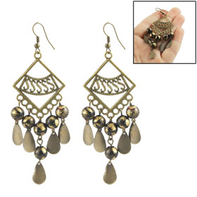Ladies Metal Square Loop Design Dangling Beads Ear Hooks Earrings
