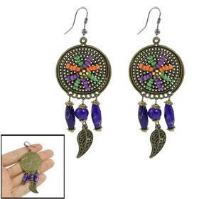 Woman Bronze Tone Blue Beads Drop Dangling Leaf Pendant Earrings