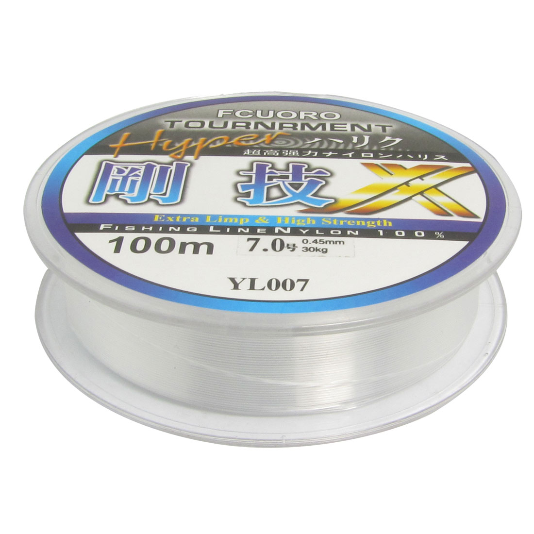 Clear 0.45mm Dia 30Kg Freshwater Fishing Line Spool 328Ft 7.0#