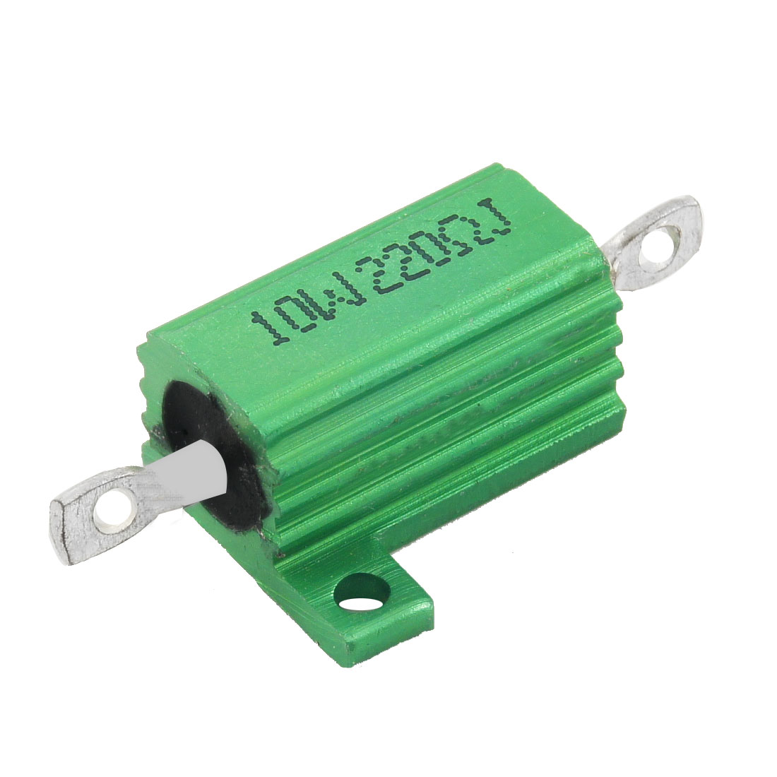 Green 10 Watt 220 Ohm 5% Aluminum Shell Wire Wound Resistor