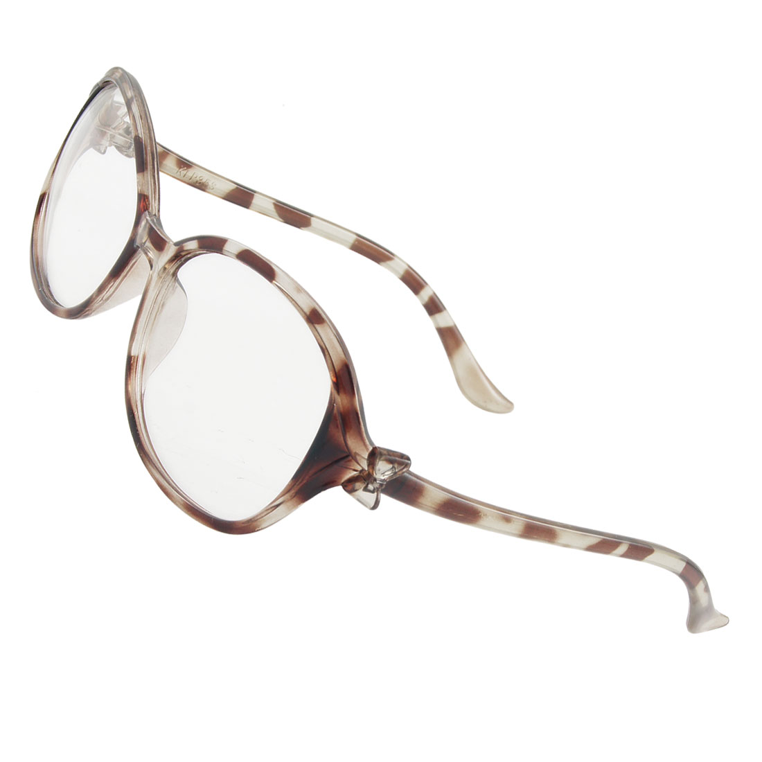 Lady Brown Leopard Print Plastic Full Rims Clear Lens Plain Glasses